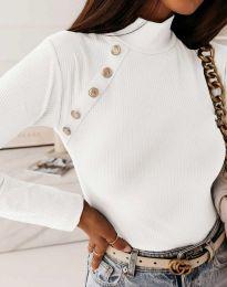 Дамска блуза с поло яка в бяло - код 5690