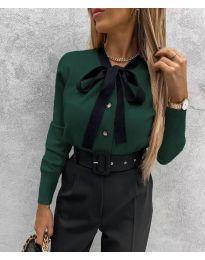Кокетна дамска риза в тъмно зелено - код 3737