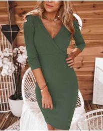 Дамска рокля в маслено зелено - код 956