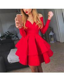 Атрактивна червена рокля с ефектно деколте - код 228