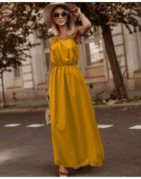 Изчистена рокля в цвят горчица - код 3323