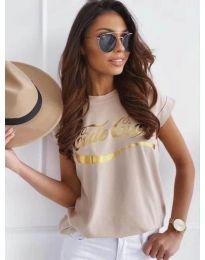 Бежова дамска тениска със златист принт - код 3659