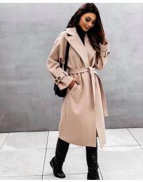 Дамско палто с колан в бежово - код 410