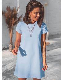 Изчистена рокля в светло синьо - код 2299