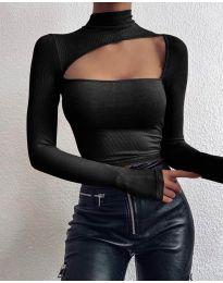 Екстравагантна дамска блуза в черно - код 4145