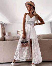 Дамска рокля с дантела в бяло - код 2704