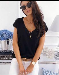 Изчистена дамска блуза с къс ръкав в черно - код 885