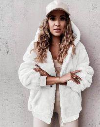 Пухкаво дамско палто в бяло - код 5489