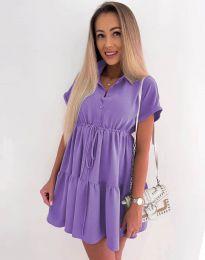 Свободна къса рокля в лилаво - код 8889
