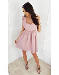 Стилна рокля в розово - код 818