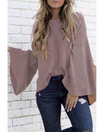Блуза с ефектни ръкави в цвят пудра - код 076