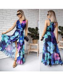 Дълга ефирна рокля с цепка и десен на цветя - код 617