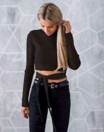 Ефектна дамска блуза в черно с гол гръб - код 1248
