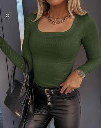 Стилна дамска блуза в цвят масленозелено - код 6342