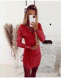 Дамска рокля в червено - код 2077