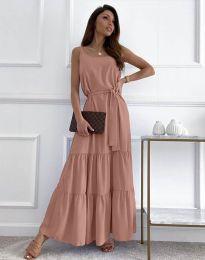 Дълга дамска рокля в цвят пудра - код 2578