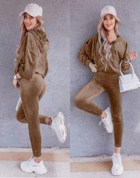 Спортен дамски комплект в цвят капучино - код 7034