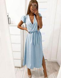 Свободна дамска рокля в светлосиньо - код 2455