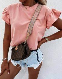 Дамска тениска с ефектни ръкави в цвят пудра - код 4352