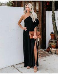 Дълга рокля с цепка в черно - код 6681