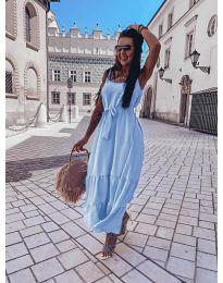 Дълга дамска рокля в светло синьо  - код 1230