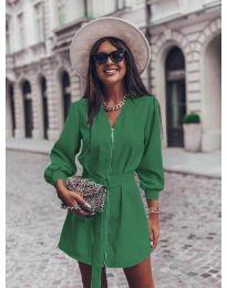 Дамска рокля с цип в зелено - код 820