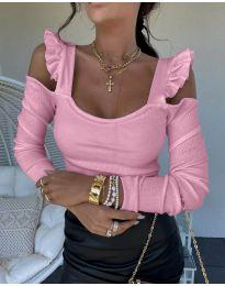 Блуза в розово с ефектни ръкави - код 2380