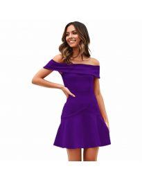 Разкроена рокля в тъмно лилаво  - код 611