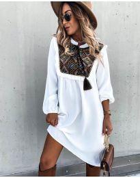 Свободна атрактивна рокля в бяло - код 958