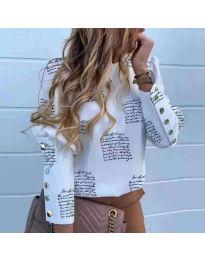 Дамска бяла риза с принтиран текст - код 784