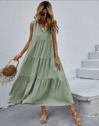 Свободна дълга рокля в цвят мента - код 8149
