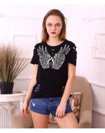 Тениска с крила в черно - код 3567