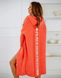 Жилетка дълга плетена с качулка в оранжево - код 3162