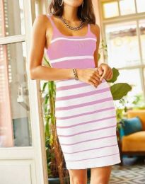 Атрактивна дамска рокля в светлорозово - код 0998