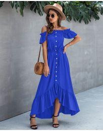 Свободна дълга рокля в синьо - код 564