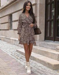 Елегантна дамска рокля с животински десен - код 0438 - 2