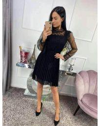 Черна рокля с дантела и плисета - код 305