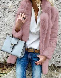 Дамско зимно пухено палто с копчета в цвят пудра - код 4664