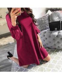 Свободна рокля с тюлени ръкави в бордо - код 857