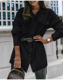 Дамска риза с колан в черно - код 4848