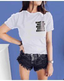 Бяла тениска с принт - код 437