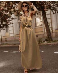 Изчистена рокля в цвят капучино - код 3323