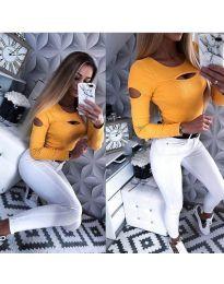 Ефектна дамска блуза в цвят горчица - код 3518