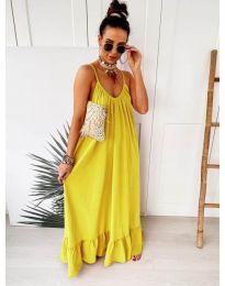 Дълга ефирна рокля в цвят жълто - код 2218