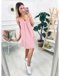 Дамска рокля с изрязан гръб в розово - код 008