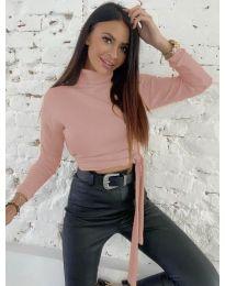 Къса дамска блуза в цвят пудра - код 5757