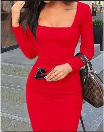 Стилна изчистена рокля по тялото в червено - код 3450