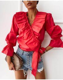 Изчистена дамска риза в червено - код 1167