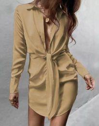 Атрактивна дамска рокля в бежово - код 5866