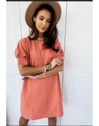 Коктейлна рокля в прасковено - код 9868